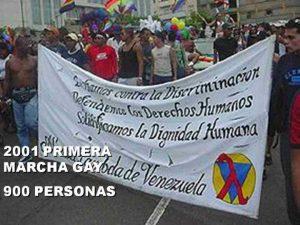 Foto archivo de la Red. Primera Marcha del Orgullo Gay en Caracas.